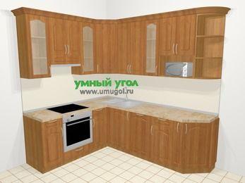 Угловая кухня МДФ матовый в классическом стиле 6,6 м², 190 на 240 см, Вишня, верхние модули 92 см, посудомоечная машина, модуль под свч, встроенный духовой шкаф