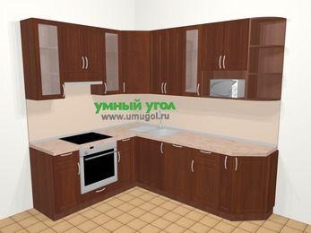 Угловая кухня МДФ матовый в классическом стиле 6,6 м², 190 на 240 см, Вишня темная, верхние модули 92 см, посудомоечная машина, модуль под свч, встроенный духовой шкаф
