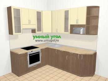 Угловая кухня МДФ матовый в современном стиле 6,6 м², 190 на 240 см, Ваниль / Лиственница бронзовая, верхние модули 92 см, посудомоечная машина, модуль под свч, встроенный духовой шкаф