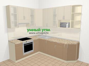 Угловая кухня МДФ матовый в современном стиле 6,6 м², 190 на 240 см, Керамик / Кофе, верхние модули 92 см, посудомоечная машина, модуль под свч, встроенный духовой шкаф