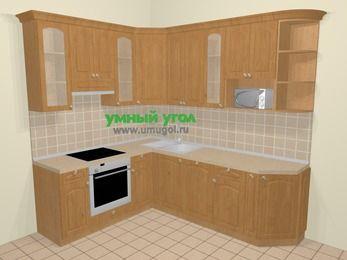 Угловая кухня МДФ матовый в стиле кантри 6,6 м², 190 на 240 см, Ольха, верхние модули 92 см, посудомоечная машина, модуль под свч, встроенный духовой шкаф