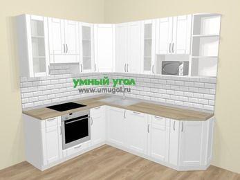 Угловая кухня МДФ матовый  в скандинавском стиле 6,6 м², 190 на 240 см, Белый, верхние модули 92 см, посудомоечная машина, модуль под свч, встроенный духовой шкаф