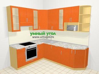 Угловая кухня МДФ металлик в современном стиле 6,6 м², 190 на 240 см, Оранжевый металлик, верхние модули 92 см, посудомоечная машина, модуль под свч, встроенный духовой шкаф