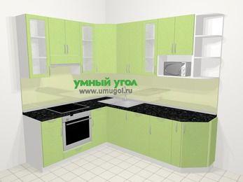 Угловая кухня МДФ металлик в современном стиле 6,6 м², 190 на 240 см, Салатовый металлик, верхние модули 92 см, посудомоечная машина, модуль под свч, встроенный духовой шкаф
