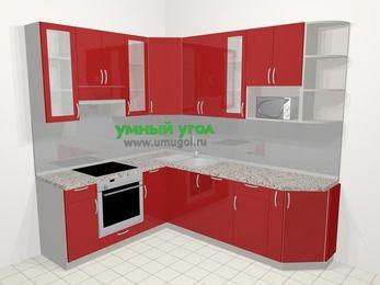 Угловая кухня МДФ глянец в современном стиле 6,6 м², 190 на 240 см, Красный, верхние модули 92 см, посудомоечная машина, модуль под свч, встроенный духовой шкаф