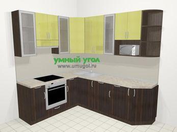 Кухни пластиковые угловые в современном стиле 6,6 м², 190 на 240 см, Желтый Галлион глянец / Дерево Мокка, верхние модули 92 см, посудомоечная машина, модуль под свч, встроенный духовой шкаф