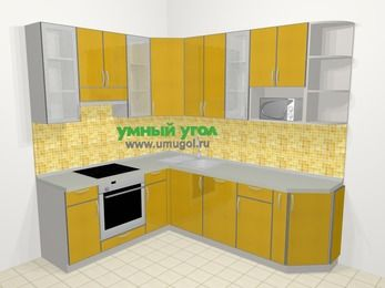 Кухни пластиковые угловые в современном стиле 6,6 м², 190 на 240 см, Желтый глянец, верхние модули 92 см, посудомоечная машина, модуль под свч, встроенный духовой шкаф