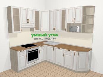 Угловая кухня МДФ патина в классическом стиле 6,6 м², 190 на 240 см, Лиственница белая, верхние модули 92 см, посудомоечная машина, модуль под свч, встроенный духовой шкаф