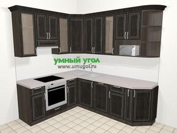 Угловая кухня МДФ патина в классическом стиле 6,6 м², 190 на 240 см, Венге, верхние модули 92 см, посудомоечная машина, модуль под свч, встроенный духовой шкаф