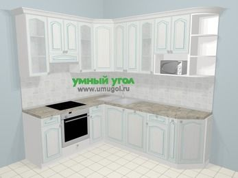 Угловая кухня МДФ патина в стиле прованс 6,6 м², 190 на 240 см, Лиственница белая, верхние модули 92 см, посудомоечная машина, модуль под свч, встроенный духовой шкаф