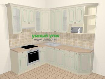 Угловая кухня МДФ патина в стиле прованс 6,6 м², 190 на 240 см, Керамик, верхние модули 92 см, посудомоечная машина, модуль под свч, встроенный духовой шкаф