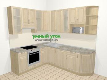 Угловая кухня из массива дерева в классическом стиле 6,6 м², 190 на 240 см, Светло-коричневые оттенки, верхние модули 92 см, посудомоечная машина, модуль под свч, встроенный духовой шкаф