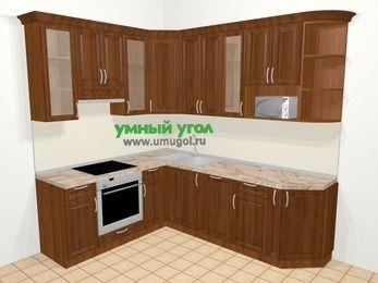 Угловая кухня из массива дерева в классическом стиле 6,6 м², 190 на 240 см, Темно-коричневые оттенки, верхние модули 92 см, посудомоечная машина, модуль под свч, встроенный духовой шкаф