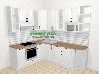 Угловая кухня из массива дерева в скандинавском стиле 6,6 м², 190 на 240 см, Белые оттенки, верхние модули 92 см, посудомоечная машина, модуль под свч, встроенный духовой шкаф