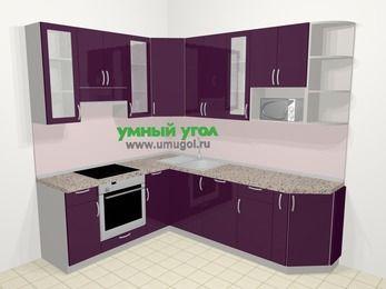 Угловая кухня МДФ глянец в современном стиле 6,6 м², 190 на 240 см, Баклажан, верхние модули 92 см, посудомоечная машина, модуль под свч, встроенный духовой шкаф