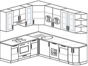 Угловая кухня 6,6 м² (1,9✕2,4 м), верхние модули 92 см, посудомоечная машина, встроенный духовой шкаф