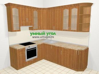 Угловая кухня МДФ матовый в классическом стиле 6,6 м², 190 на 240 см, Вишня, верхние модули 92 см, посудомоечная машина, встроенный духовой шкаф