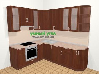 Угловая кухня МДФ матовый в классическом стиле 6,6 м², 190 на 240 см, Вишня темная, верхние модули 92 см, посудомоечная машина, встроенный духовой шкаф