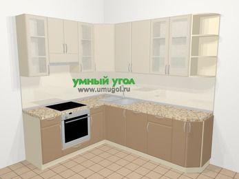 Угловая кухня МДФ матовый в современном стиле 6,6 м², 190 на 240 см, Керамик / Кофе, верхние модули 92 см, посудомоечная машина, встроенный духовой шкаф