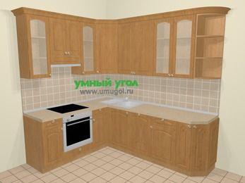 Угловая кухня МДФ матовый в стиле кантри 6,6 м², 190 на 240 см, Ольха, верхние модули 92 см, посудомоечная машина, встроенный духовой шкаф