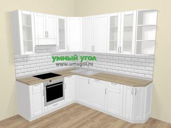 Угловая кухня МДФ матовый  в скандинавском стиле 6,6 м², 190 на 240 см, Белый, верхние модули 92 см, посудомоечная машина, встроенный духовой шкаф