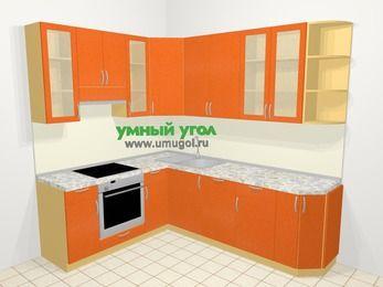 Угловая кухня МДФ металлик в современном стиле 6,6 м², 190 на 240 см, Оранжевый металлик, верхние модули 92 см, посудомоечная машина, встроенный духовой шкаф