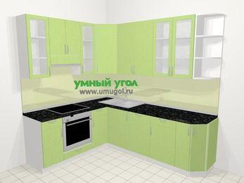 Угловая кухня МДФ металлик в современном стиле 6,6 м², 190 на 240 см, Салатовый металлик, верхние модули 92 см, посудомоечная машина, встроенный духовой шкаф
