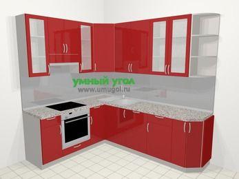 Угловая кухня МДФ глянец в современном стиле 6,6 м², 190 на 240 см, Красный, верхние модули 92 см, посудомоечная машина, встроенный духовой шкаф