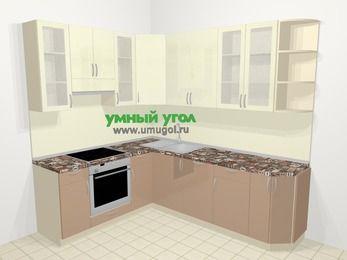 Угловая кухня МДФ глянец в современном стиле 6,6 м², 190 на 240 см, Жасмин / Капучино, верхние модули 92 см, посудомоечная машина, встроенный духовой шкаф