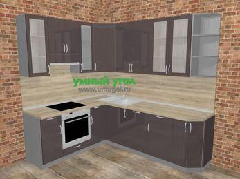 Угловая кухня МДФ глянец в стиле лофт 6,6 м², 190 на 240 см, Шоколад, верхние модули 92 см, посудомоечная машина, встроенный духовой шкаф