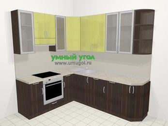 Кухни пластиковые угловые в современном стиле 6,6 м², 190 на 240 см, Желтый Галлион глянец / Дерево Мокка, верхние модули 92 см, посудомоечная машина, встроенный духовой шкаф