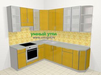 Кухни пластиковые угловые в современном стиле 6,6 м², 190 на 240 см, Желтый глянец, верхние модули 92 см, посудомоечная машина, встроенный духовой шкаф