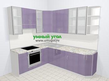 Кухни пластиковые угловые в современном стиле 6,6 м², 190 на 240 см, Сиреневый глянец, верхние модули 92 см, посудомоечная машина, встроенный духовой шкаф