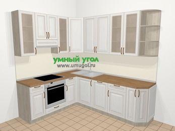 Угловая кухня МДФ патина в классическом стиле 6,6 м², 190 на 240 см, Лиственница белая, верхние модули 92 см, посудомоечная машина, встроенный духовой шкаф