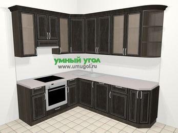 Угловая кухня МДФ патина в классическом стиле 6,6 м², 190 на 240 см, Венге, верхние модули 92 см, посудомоечная машина, встроенный духовой шкаф