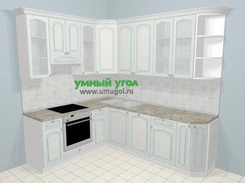 Угловая кухня МДФ патина в стиле прованс 6,6 м², 190 на 240 см, Лиственница белая, верхние модули 92 см, посудомоечная машина, встроенный духовой шкаф