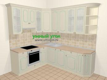 Угловая кухня МДФ патина в стиле прованс 6,6 м², 190 на 240 см, Керамик, верхние модули 92 см, посудомоечная машина, встроенный духовой шкаф