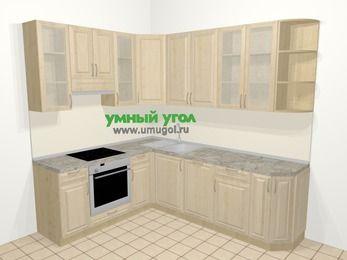 Угловая кухня из массива дерева в классическом стиле 6,6 м², 190 на 240 см, Светло-коричневые оттенки, верхние модули 92 см, посудомоечная машина, встроенный духовой шкаф