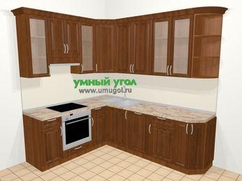 Угловая кухня из массива дерева в классическом стиле 6,6 м², 190 на 240 см, Темно-коричневые оттенки, верхние модули 92 см, посудомоечная машина, встроенный духовой шкаф