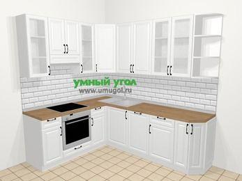 Угловая кухня из массива дерева в скандинавском стиле 6,6 м², 190 на 240 см, Белые оттенки, верхние модули 92 см, посудомоечная машина, встроенный духовой шкаф