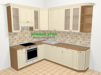 Угловая кухня из массива дерева в стиле кантри 6,6 м², 190 на 240 см, Бежевые оттенки, верхние модули 92 см, посудомоечная машина, встроенный духовой шкаф