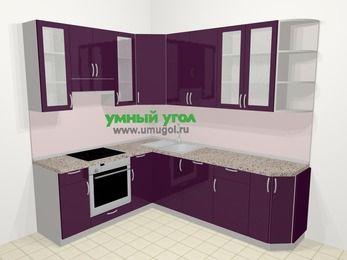 Угловая кухня МДФ глянец в современном стиле 6,6 м², 190 на 240 см, Баклажан, верхние модули 92 см, посудомоечная машина, встроенный духовой шкаф