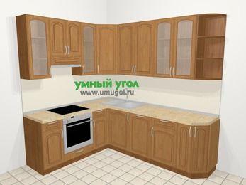 Угловая кухня МДФ патина в классическом стиле 6,6 м², 190 на 240 см, Ольха, верхние модули 92 см, посудомоечная машина, встроенный духовой шкаф