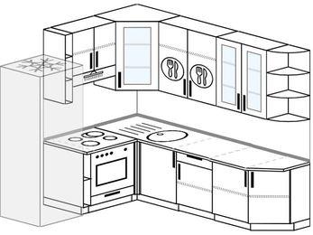 Угловая кухня 6,6 м² (1,9✕2,4 м), верхние модули 92 см, встроенный духовой шкаф, холодильник
