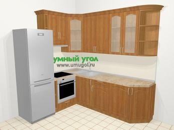 Угловая кухня МДФ матовый в классическом стиле 6,6 м², 190 на 240 см, Вишня, верхние модули 92 см, встроенный духовой шкаф, холодильник