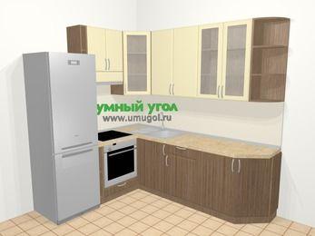 Угловая кухня МДФ матовый в современном стиле 6,6 м², 190 на 240 см, Ваниль / Лиственница бронзовая, верхние модули 92 см, встроенный духовой шкаф, холодильник