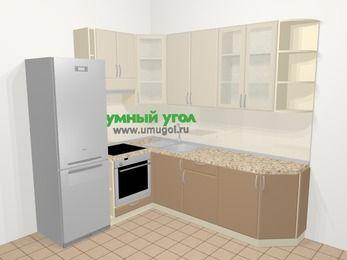 Угловая кухня МДФ матовый в современном стиле 6,6 м², 190 на 240 см, Керамик / Кофе, верхние модули 92 см, встроенный духовой шкаф, холодильник