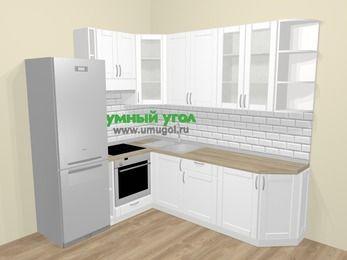 Угловая кухня МДФ матовый  в скандинавском стиле 6,6 м², 190 на 240 см, Белый, верхние модули 92 см, встроенный духовой шкаф, холодильник