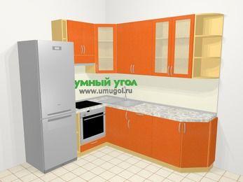 Угловая кухня МДФ металлик в современном стиле 6,6 м², 190 на 240 см, Оранжевый металлик, верхние модули 92 см, встроенный духовой шкаф, холодильник