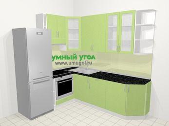 Угловая кухня МДФ металлик в современном стиле 6,6 м², 190 на 240 см, Салатовый металлик, верхние модули 92 см, встроенный духовой шкаф, холодильник